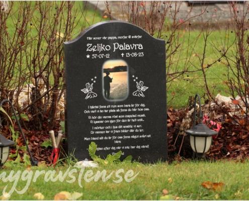 Exempel på gravsten med fotografi och dikt