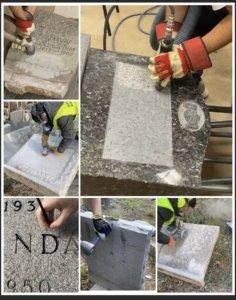Kollage av bilder som visar gravstensrenovering