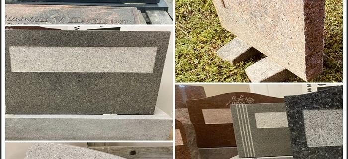 Kollage av olika gravstensmodeller