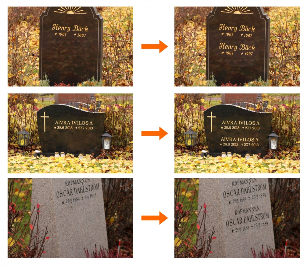 Exempel på textkompletteringar på gravstenar